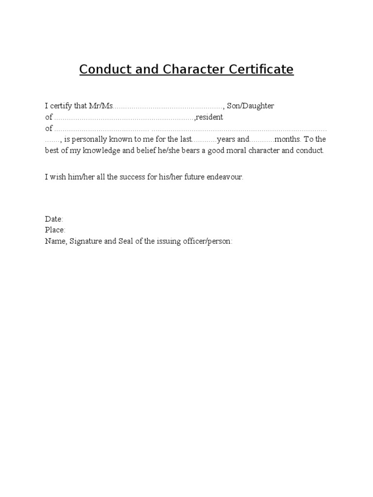 Conduct And Character Certificate
