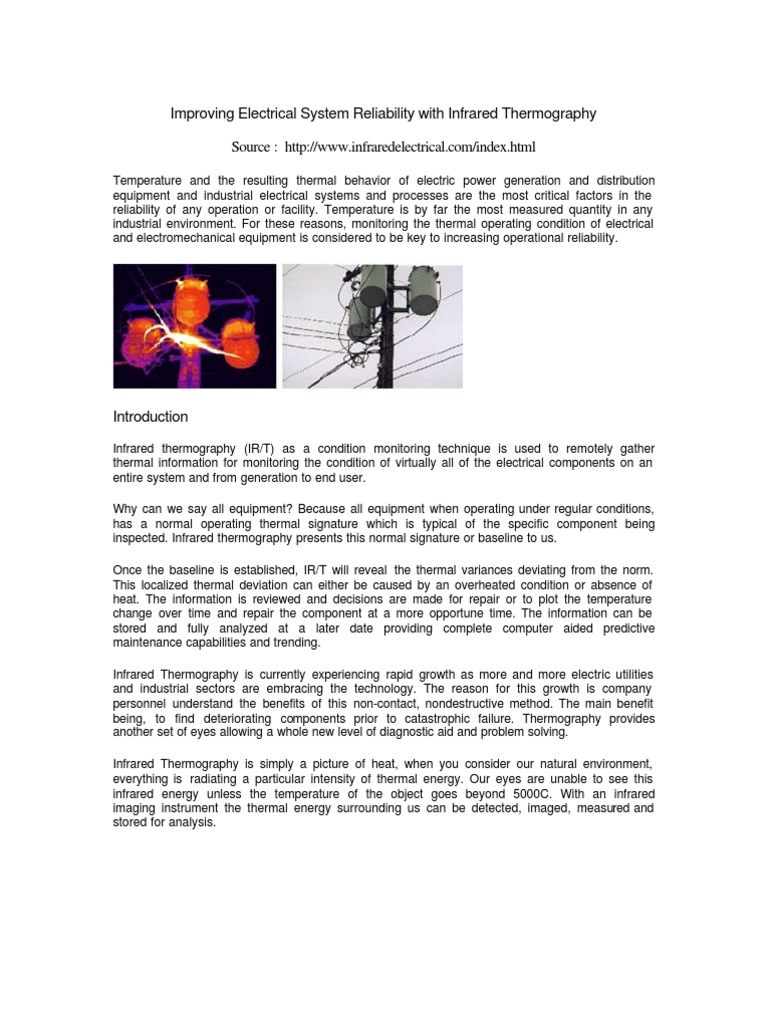Irthermaphy Thermography Electrical Resistance And Conductance Non Contact Power Monitor