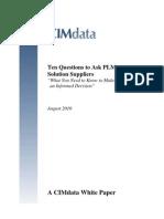 Ten Questions PLMSuppliers 201009