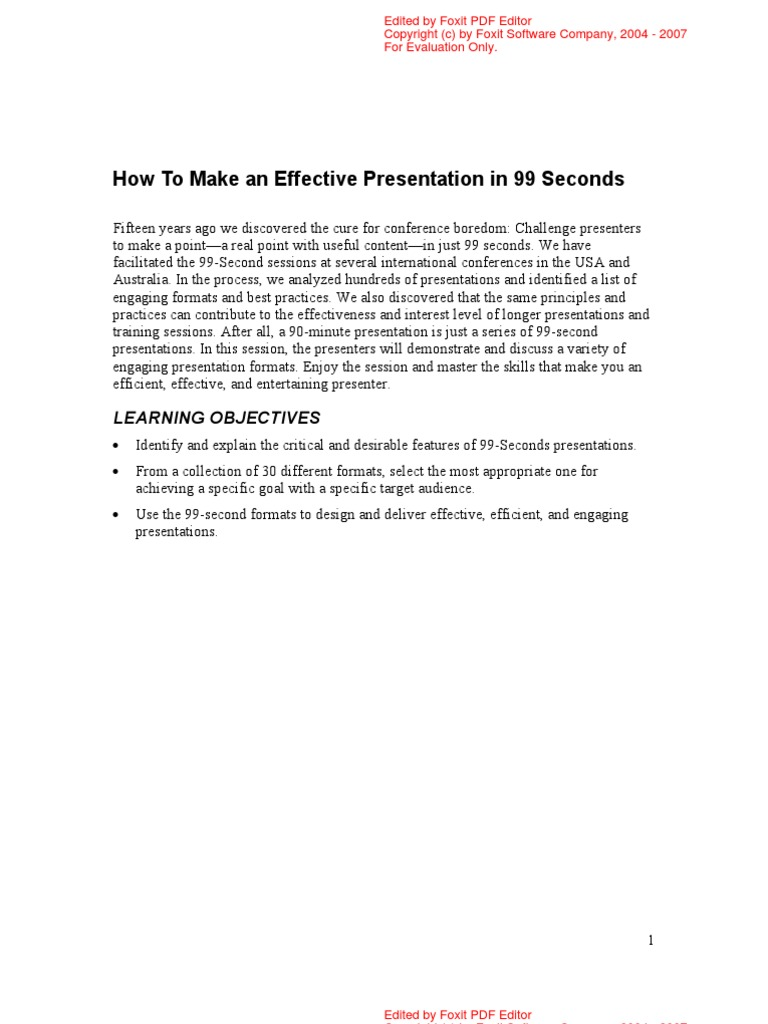 how to make an effective presentation in 99 seconds motivation