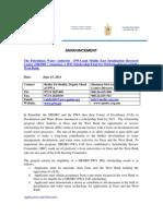 Announcement for MEDRC-PWA Shcolarship Fund