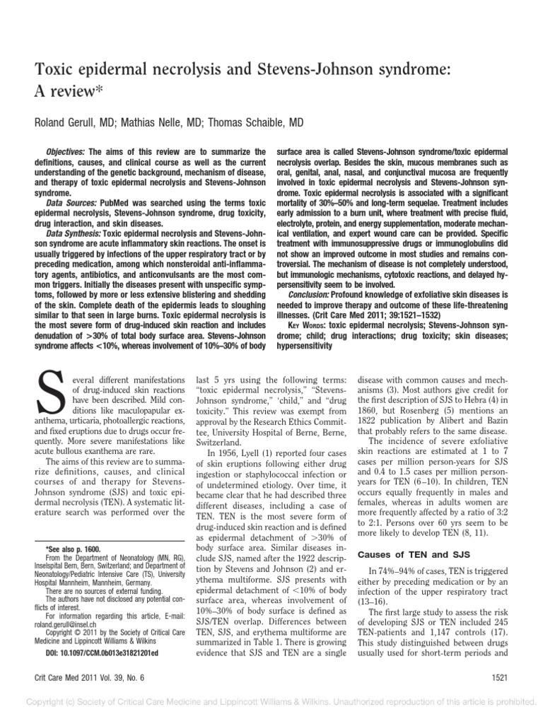 Toxic Epidermal Necrolysis and Stevens-Johnson Syndrome | Medical