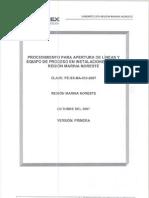 Proc. para abertura de líneas y equipos de procesos