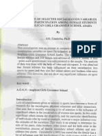 Influence of Selected Socialization Variables on Sport Participation Among Female Students of Anglican Girls Grammer School Asaba by J O Uzonicha