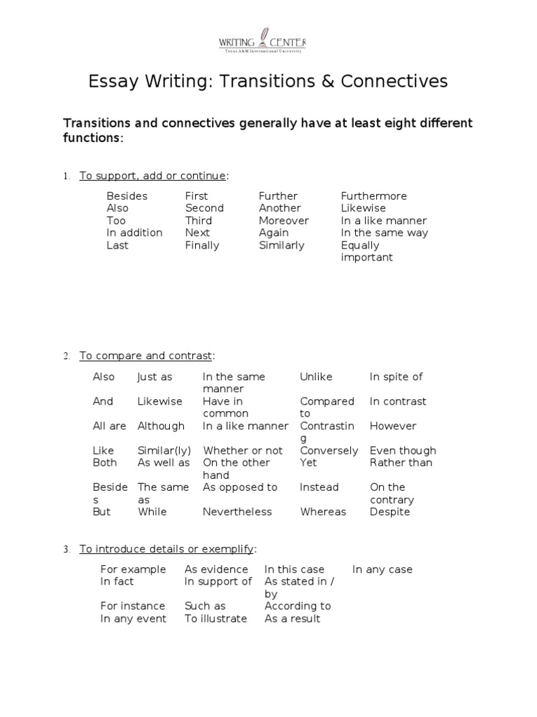 essay writing transitions and connectives