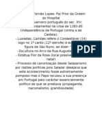 D. Nuno Álvares Pereira apontamento