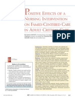 Positive Effects of a Nursing Intervention on a Family Centered Care in Adult Critical Care