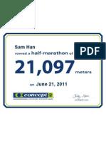 Concept2 2011 June 21 Half Marathon Certificate