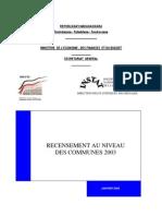 Rencensement au niveau des communes 2003 (INSTAT/2005)
