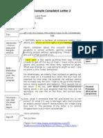 Sample Complaint Letter 2