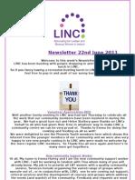 Newsletter 22nd June 2011