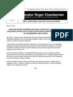Chamberlain Declines Salary, Per Diem