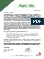 Comunicado  Urgente a los Cooperativistas -22 JUN 201
