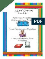 Specials Schedule for Parents