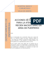 Acciones de Enfermeria Para La Atencion Del Recien Nacido en Area de Puerperio