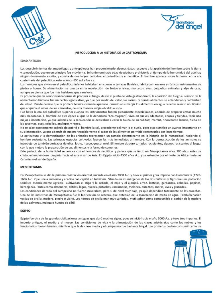 Introduccion a la historia de la gastronomia for Introduccion a la gastronomia pdf