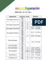 Exámenes de Reparación 2011-1
