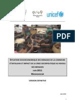Situation socioéconomique des ménages dans le District d'Antalaha et impact de la crise sociopolitique au niveau des ménages (PADR, ROR, UNDP, UNICEF/2011)
