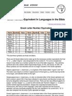Greek and Hebrew Letter Number Equivalent