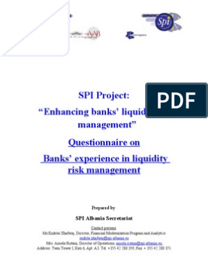 Questionnaire on bank liquidity