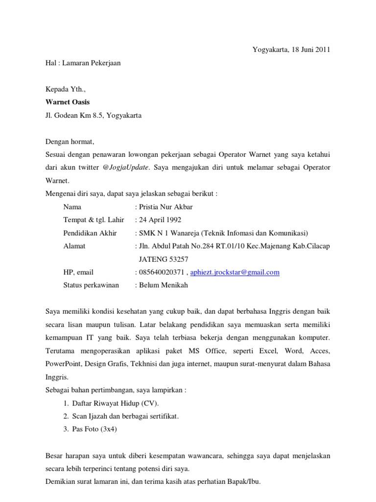 contoh surat lamaran kerja kosong pdf