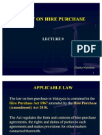Lecture 9 Hire Purchase Law