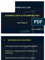 Lecture 10 Co. Law Introduction Incorporation