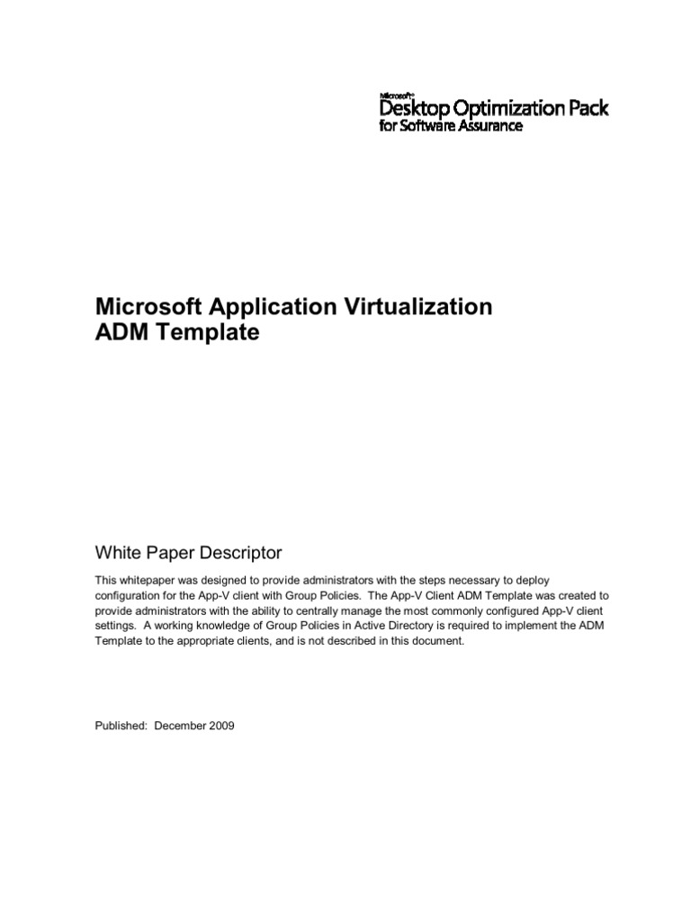 App-V ADM Template | Group Policy | Windows Registry