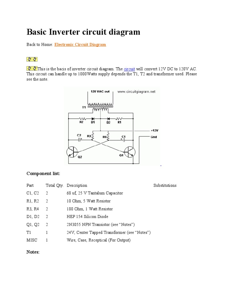 Simple Inverter Wiring Diagram Schematic Diagrams 1000w Power Circuit Electronic Circuits Basic Rv Install