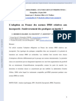 L'Adoption en France Des Normes IFRS Relatives Aux Incorporels Bouleversement Des Pratiques Ou Inertie