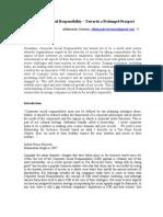 Corporate Social Responsibility – Towards a Prolonged Prospect