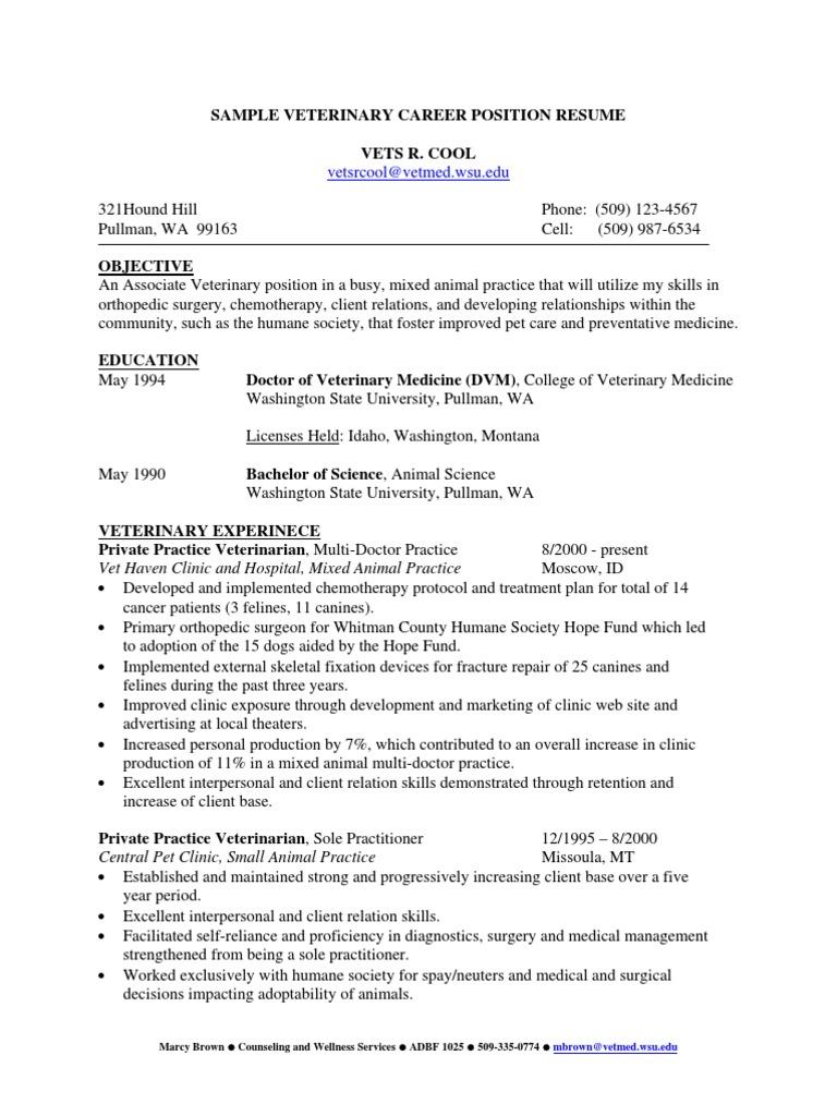 sample doctor resume  veterinary physician  veterinary