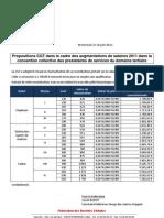 Propositions CGT d'augmentation de salaires au niveau de la branche des prestataires de services