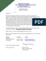 DOE notice of 2011 SPR sale