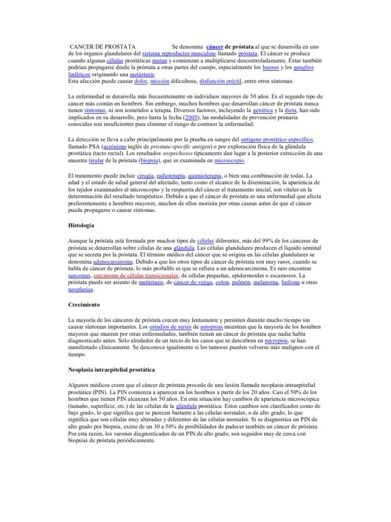 ¿qué es neoplasia intraepitelial prostatica de alto grado