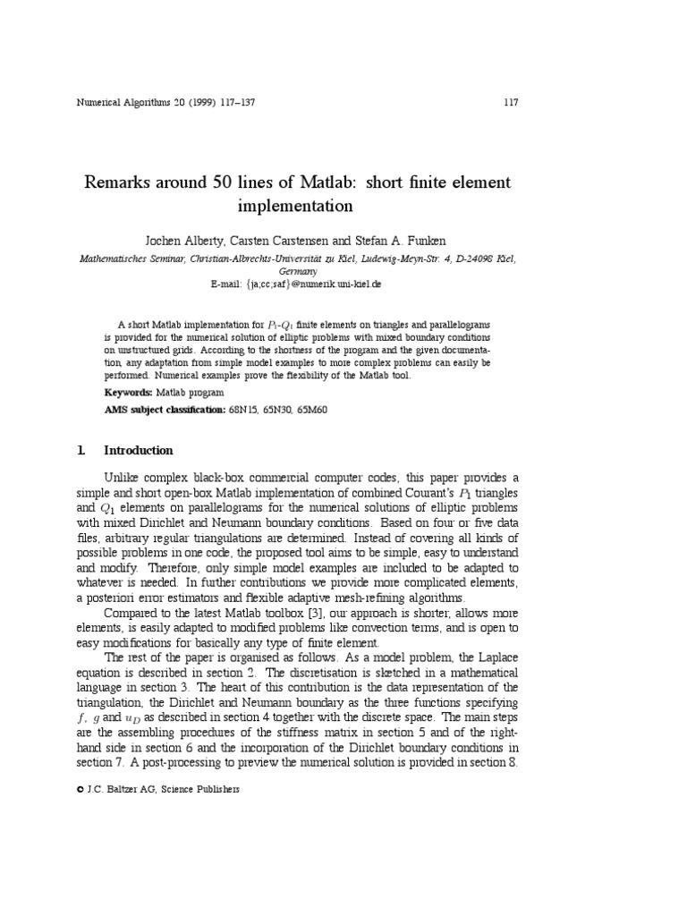 Lines Matlab | Finite Element Method | Numerical Analysis