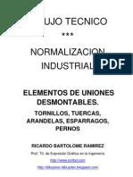 DIBUJO TÉCNICO. NORMALIZACIÓN INDUSTRIAL. ELEMENTOS DE UNIONES DESMONTABLES