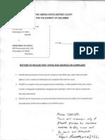 Motion for Po Box Denied