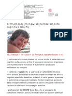 Trattamenti intensivi di potenziamento cognitivo CSDAC