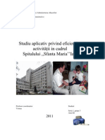 Studiu Aplicativ Privind Eficientizarea Activitatii in Cadrul Spitalului Sfanta Maria Iasi
