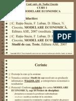 Curs1 Modelare Economica 2011 - Nadia Ciocoiu