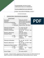 III CONVOCATORIA DE SELECCIÓN DE PERSONAL CAS-2011