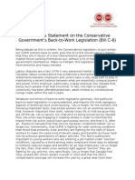 GTA Union Statement on the Conservative Government's Btw Legislation June 2011
