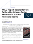 06-08-10 ACLU Report Details Horrors Suffered by Orleans Parish Prisoners in Wake of Hurricane Katrina