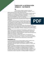 IMPORTANCIA DE LA INTERACCIÓN FÁRMACO nutricion