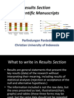 Results Section in Scientific Manuscripts
