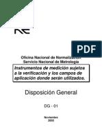 DG-01. Instrumentos de medición sujetos a la verificación y los campos de aplicación donde serán utilizados.