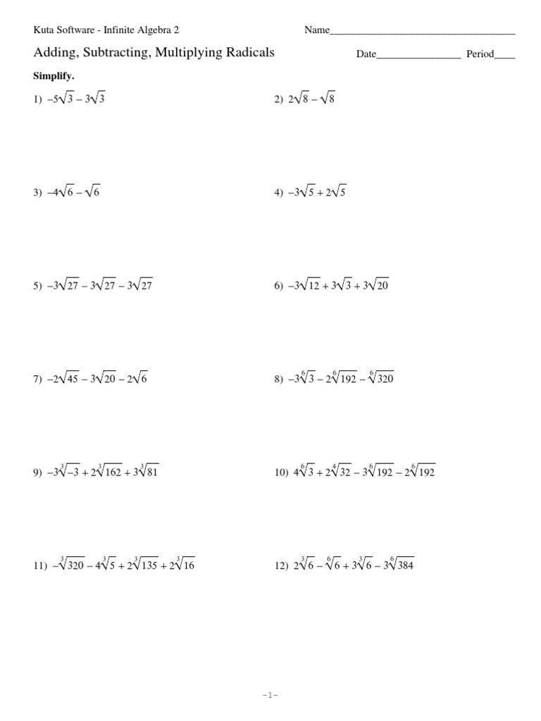 Operations with Radical Expressions Worksheet for 7th - 10th Grade ...