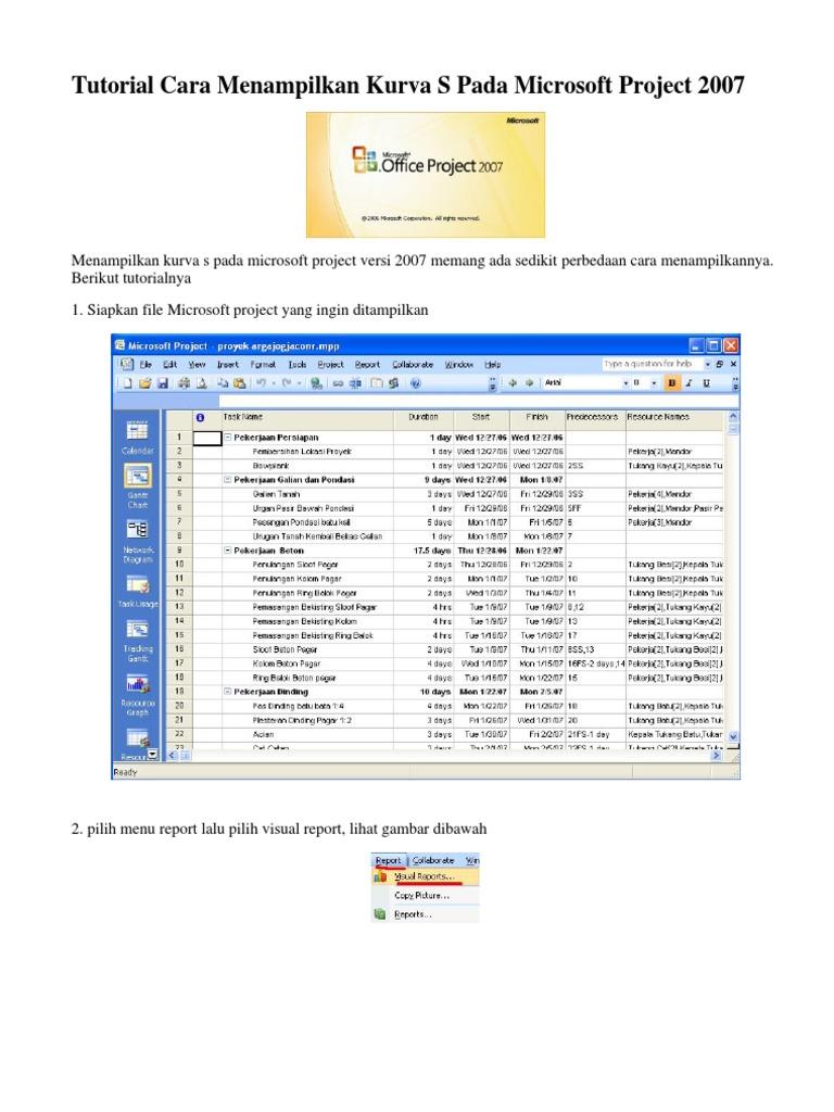 Tutorial Cara An Kurva S Pada Microsoft Project 2007