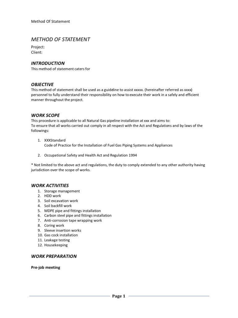Method of Statement -Natural Gas Pipeline Installation
